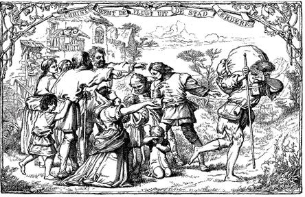 Illustratie uit Bunyan's 'Christenreis'