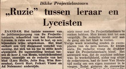 Dagblad De Typhoon heeft heet nieuws: ruzie op het Zaanlands Lyceum.